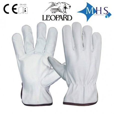Rękawice ochronne skórzane Leopard White Driver Gloves